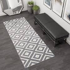 maroko teppich läufer kurzflor grau creme marokkanisch karo