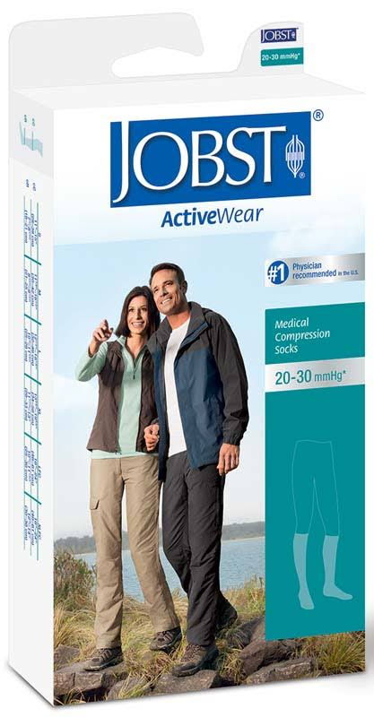 Jobst Activewear 20-30 mmHg Knee High Compression Socks White Large