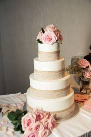 Burlap And Lace Wedding Cake With Pink Roses
