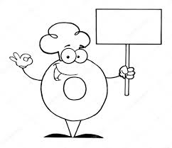 Coloring Page Outline Of A Donut Character Wearing Chef Hat And Holding Blank Sign Photo By HitToon