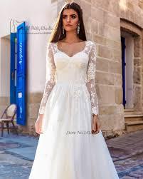 Greek Long Sleeve Wedding Dress Lace A Line Bride Dresses 2017 Boho Rustic Gowns Vestido De Noiva Manga Longa Brautkleid In From