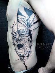 Abstract Geometric Man Face Tattoo On Side Rib By Jan Mraz