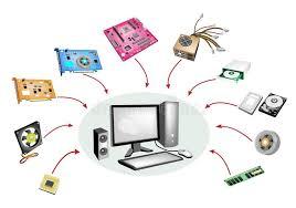 ensemble ordinateur de bureau ensemble coloré d illustration de système informatique d