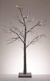 48 LED Lighted Poseable Snowy Brown Leafless Twig Tree Christmas Table Top Decoration