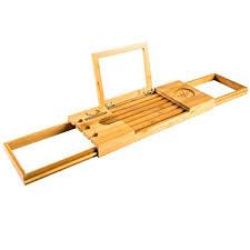 premium bamboo bath caddy luxurious wooden bathtub tray book