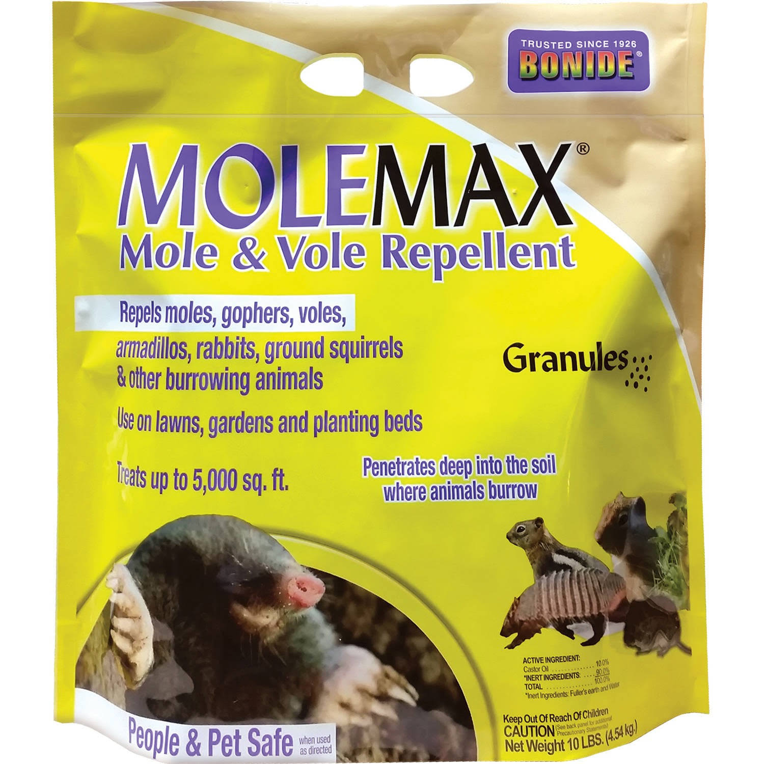 Bonide Mole Max and Vole Repellent Granules - 10lb