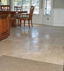 Stone Kitchen Floor Tile Completing Traditional And Dining Room With Wooden Table