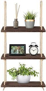 medla hängeregal holz 3 ablagen seil regal wandregal wohnzimmer küche badzimmer deko pflanzen