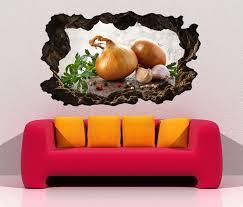3d wandtattoo durchbruch zwiebel knoblauch küche gemüse wand aufkleber wanddurchbruch sticker selbstklebend wandbild wandsticker wohnzimmer 11o2408