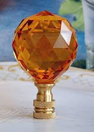 2 of amber 26 lead crystal l shade finials 40mm amazon com