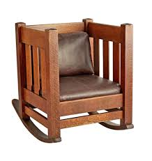 Arts & Crafts Oak Cube Rocking Chair W/ Leather Upholstery