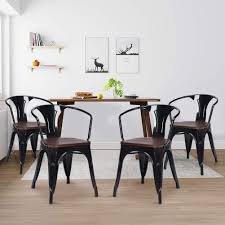 Dining Chairs, WaterJoy Set Of 4 Wood Metal Tolix Vintage Retro Bistro  Stackable Dining Cafe Side Chair, Industrial Style Steel Bar Kitchen  Furniture ... Chair 34 Tremendous Metal And Wood Ding Chairs Best Discount A8450 European Style Chair Modern Ward Ding Chair Contemporary Industrial Transitional Midcentury Dering Hall Anders Dc 007 Art Deco Amazoncom Oak Street Manufacturing Sl2130blk Frame Tig Barrel Copine In American White Vacuum Plating Champagne Gold Stainless Steel Mcssd9187oakgold Sanctum Round Armrest Joanne Ding Solid Table Set 4 Piece Ji Free Installation Basic Trainee Folding Black Designer Chairconference Chairexhibition Chairpantry