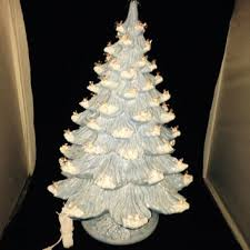 X Large Ceramic Baby Blue With Snow Lighted Christmas Tree W 2 Rings