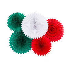Festive Red White Green Tissue Paper Flower Fan Backdrop Wall Decoration Kit 5 PACK