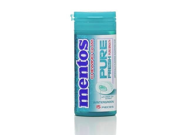 Mentos Pure Fresh Chewing Gum - Wintergreen, 15 Pieces