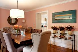 Splashy Trestle Dining Table In Room Transitional With Benjamin Moore Sea Haze Next To Peach Walls Alongside Picture Frame Molding And