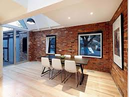 Modern Art Deco Dining Room Interior Design And Decoration Ideas Window On Natural Brick Wall
