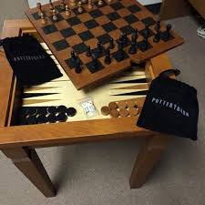 Best Pottery Barn Game Table Chess & Backgammon for sale in