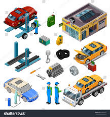 Car Service Isometric Decorative Icons Set Stock Vector 418667353 ...