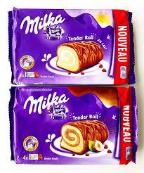 milka vanilla and chocolate filled tender rolls food