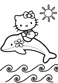 Click To See Printable Version Of Hello Kitty Rides A Dolphin Coloring Page