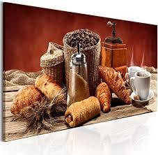 murando bilder küche kaffee 120x40 cm vlies leinwandbild 1 tlg kunstdruck modern wandbilder wanddekoration design wand bild croissant