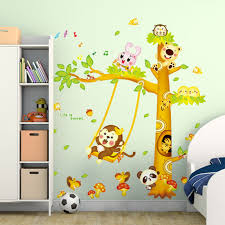 Monkey Swing Nursery Decoration Wall Stickers Removable Paper Sticker Baby Bedroom Wallpaper Childrens Room