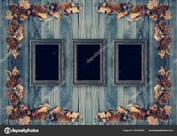 Autumn Background With Frames Decorated In Rustic Style Stock