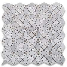carrara white kaleidoscope pattern mix mosaic tile honed
