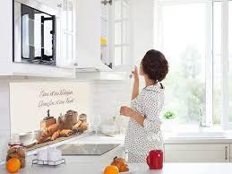 grazdesign spritzschutz küche für herd küchenrückwand glas spüle bild motiv zitat essen ist ein bedürfnis küchenspiegel 80x40cm