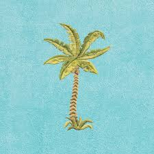 Authentic Turkish Cotton Embroidered Palm Tree Aqua Towel Cover For  Standard Chaise Lounge Chair