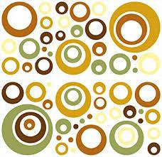 dekodino wandtattoo retro kreise gelb grün braun 60 stück wohnzimmer deko