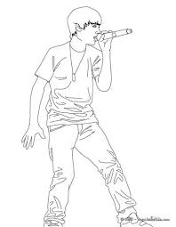 Cute Justin Bieber Famoust Singer Coloring Page