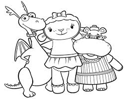 Doc Mcstuffins Coloring Pages Stuffy Lambie Hallie