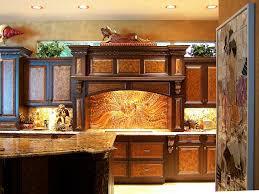 Kitchen Backsplash Ideas With Dark Wood Cabinets by Luxury Copper Backsplash Island With Marble Countertop Wooden
