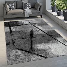 teppich wohnzimmer kurzflor vintage abstraktes muster industrial look grau schwarz