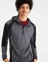 ae active half zip pullover hoodie gray american eagle outfitters