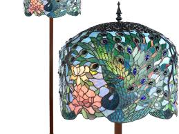 Tiffany Style Glass Torchiere Floor Lamp by Table Lamps Peacock Shade Tiffany Style Floor Lamps For Home
