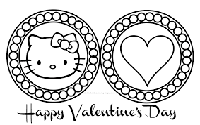 Incredible Hello Kitty Valentines Coloring Pages With Happy Day And