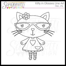 Kitty In Glasses Line Art Stamp KopyKake Image Commercial Use License Included