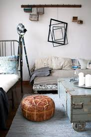 Leather Pouffe In An Industrial Room With A Metal Bed Via Parola Station Vintage FurnitureDeco FurnitureQuirky BedroomDecorating IdeasDecor