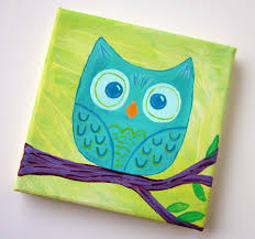 Cute Owl Canvas Paint Idea For Wall Decor On A Branch Painting