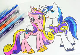 MLP Coloring Book My Little Pony Pages For Kids Princess Cadance And Shining Armor