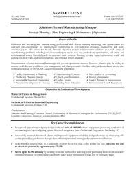 Production Supervisor Resume Examples Ideal Manufacturing Manager Example Pw A139160