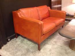canapé cuir fauve 20th century 2 seater leather sofa by the designer borge