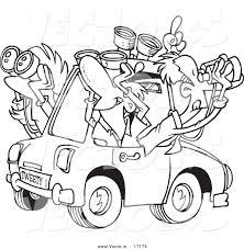 Vector Of A Cartoon Group Birders Using Binoculars In Car