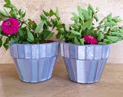 Mosaic Flower Pot Set Small Rustic Indoor Planters Succulent Pots Outdoor Planter