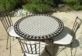 table ronde mosaique fer forge table jardin mosaique ronde 90cm céramique blanche losange ardoise