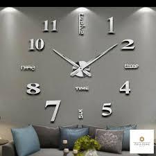 details zu moderne wanduhr 3d aufkleber home groß decor wohnzimmeruhr gold