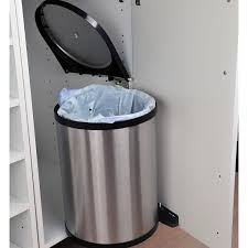 poubelle de cuisine manuelle frandis métal acier chromé 14 l